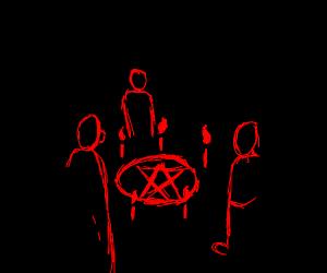 satanic seance circle of statuesque guys