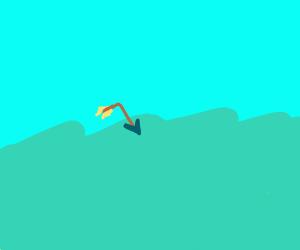 Arrow goes for a swim