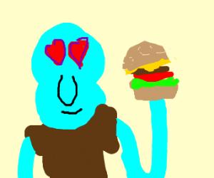 Squidward loves the krabby patty