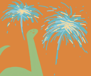 Dinosaur watches fireworks
