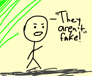 """Boy says """"They aren't fake!"""""""