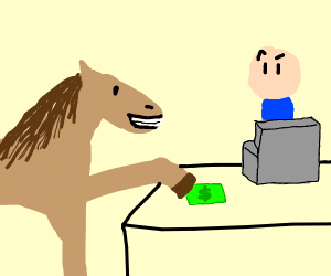 Horse Pays with Cash
