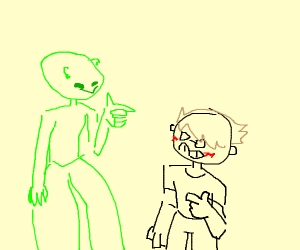 Alien with big legs checks you out
