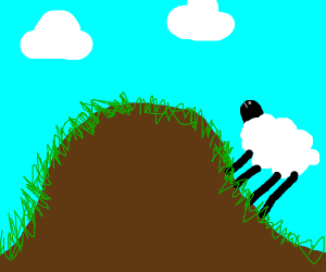 Lone sheep on the hill side