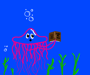 Jellyfish reading a book