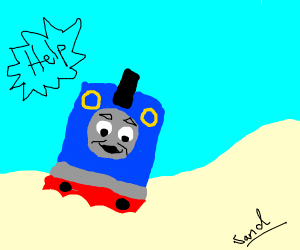 thomas the train drowning in sand
