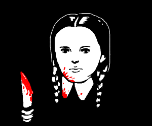 Wednesday Addams with a bloody knife