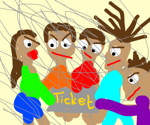 5 people fighting over a ticket