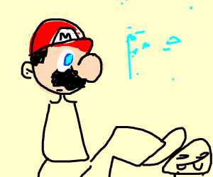 Mario trying to jump over goombas