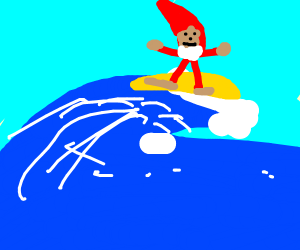 a gnome hits the wave