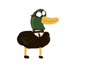 Duck in a suit with goggles