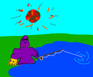 Thanos fishing happily despite killing ever-