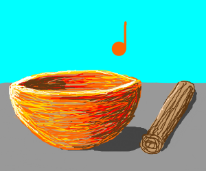Bowl, stick, musical note.