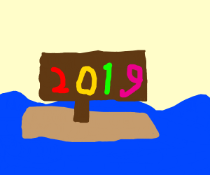 Happy new year sign goes on AN EPIC ADVENTURE