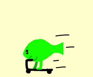 A fish riding a scooter
