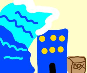 Brown box next to blue mansion in tsunami