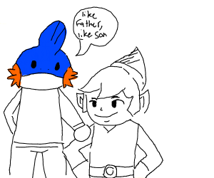 toon link, but his father is mudkip