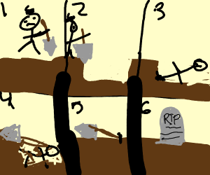 Man digging his own grave