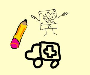 Ambulance with a big pencil