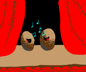 Potatoes sing a duet on stage