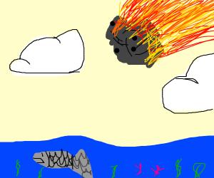 a comet speeds towards an ocean