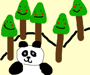 happy little trees and a panda