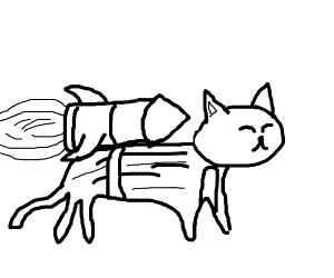 black rocket powered cat thing