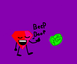 "Ruby says ""Beep Beep"" next to lettuce"