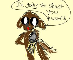 brown dog holding a gun
