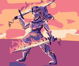 Dual wielder purple girl with flaming swords
