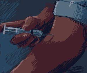 Black man injects himself