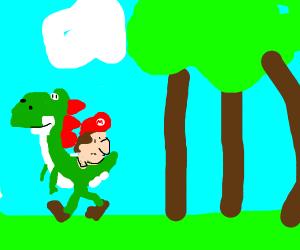 Mario on yoshi