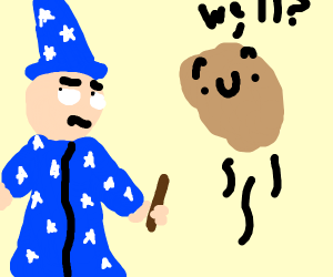 Wizard is unimpressed by potato