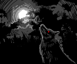 nightmare wolf howling at moon