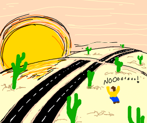 Man yelling at a desert road