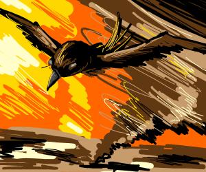 Bird flying away from tornado