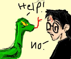 Nagini begs Harry for help