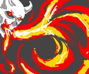 Fire breathing devil skull