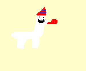 Lama wearing party hat