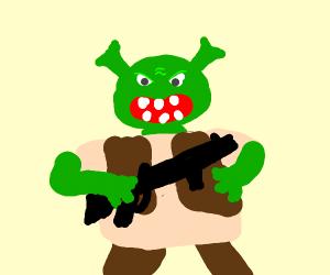 shrek with a gun