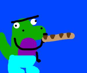 Bootleg Barney smoking breadstick