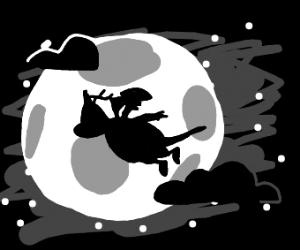 Dragonite in flight at night