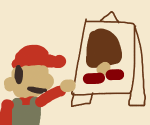 Mario becomes an artist and paints a goomba