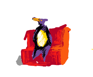 Penguin sitting on a couch