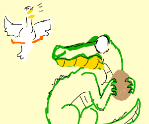 Crokodile steal egg from duck