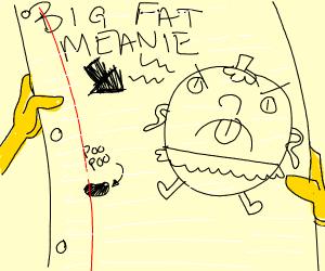 Spongebob's doodle of Miss Puff