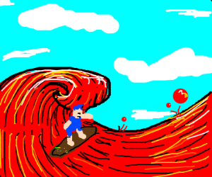 Blue haired person surfing on lava