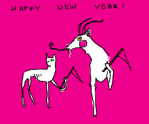 Cat and goat celebrate the new year