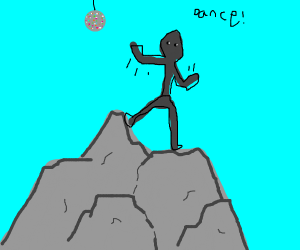 grey person dancing on a grey rock