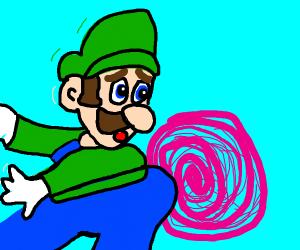 Luigi falls into purple vortex